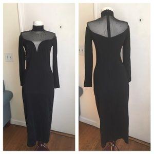 Vtg Lillie Rubin Mesh Panel Rhinestone Dress